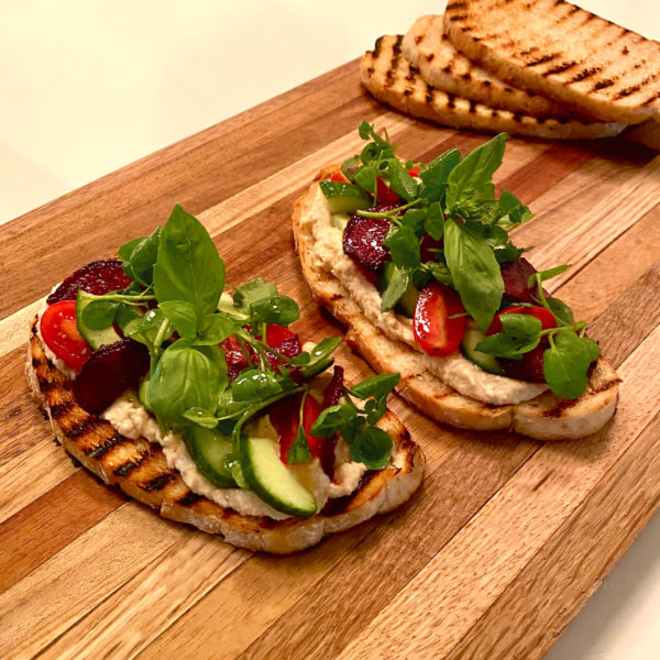 GRILLED SOURDOUGH BREAD WITH CHICKPEA YOGHURT SPREAD + WATERCRESS SALAD